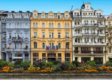 karlovy: CARLSBAD, CZECH REPUBLIC, OCTOBER 10, 2015  - Historic building and in city center of the  spa town Karlovy Vary (Carlsbad)
