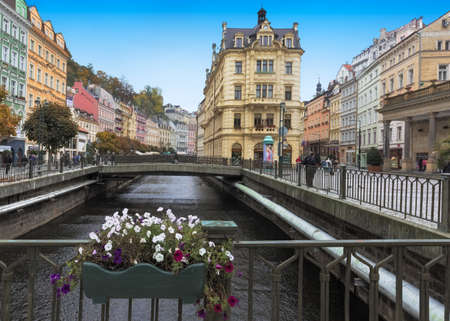 karlovy vary: CARLSBAD, CZECH REPUBLIC, OCTOBER 10, 2015  - Historic city center with river of the  spa town Karlovy Vary (Carlsbad)