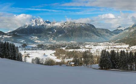 saalfelden: Wintery mountain range in Tyrol, Saalfelden, Austria