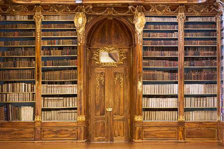 PRAAG, Tsjechië - 4 januari 2015: Philosophical Hall van het Strahovklooster en Bibliotheek Redactioneel