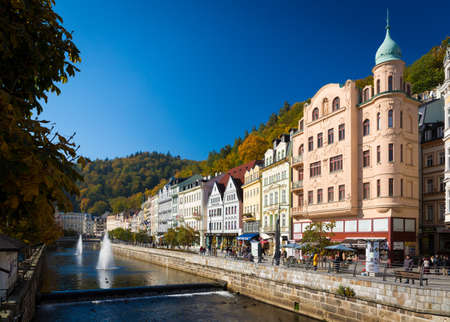 sanitarium: CARLSBAD, CZECH REPUBLIC - OCTOBER 10, 2015 - The historic city of Carlsbad is one of the most famous spa towns in Europe Editorial