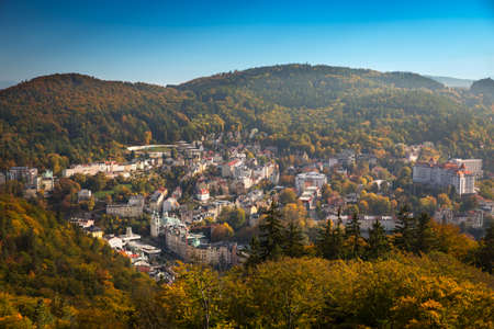 is cloudless: Carlsbad at autumn time at a cloudless day, Czech Republic