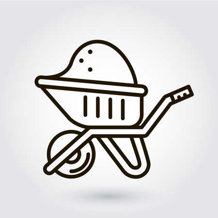 bogie: Black flat line icon with a picture of a symbol construction equipment wheelbarrow with a load on white background.