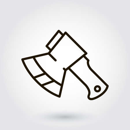 chop: Black flat line icon with a picture of a symbol construction tools axe on white background.