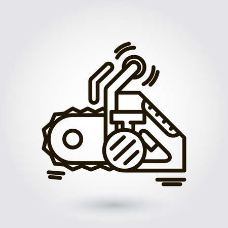 nag: Black flat line icon with a picture of a symbol construction tools chainsaw on white background.