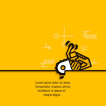 slit: banner with a picture of black flat line symbol construction tools chainsaw  on yellow  background. Illustration