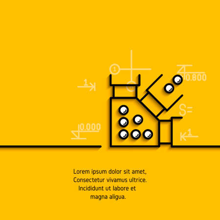 banner with a picture of black flat line symbol steel structure, metal construction on yellow  background.