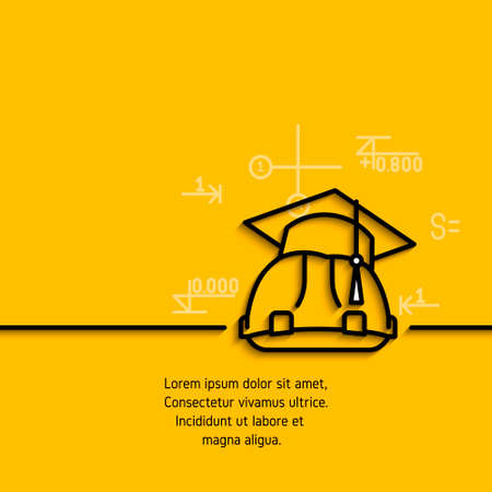 constructional: banner with a picture of black flat line symbol  training, courses, construction, engineering on yellow  background.