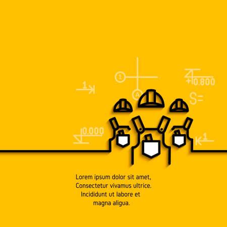 banner met een afbeelding van zwarte vlakke lijn symbool van een team van bouwers installateurs op gele achtergrond. Stock Illustratie