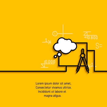 banner met een afbeelding van zwarte vlakke lijn symbool project projectie ontwerp op gele achtergrond.