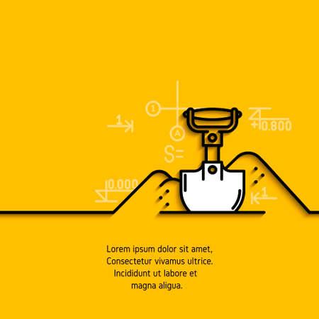 banner met een afbeelding van zwarte vlakke lijn symbool bouwmachines schop opgraving op gele achtergrond.