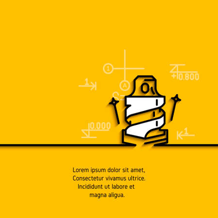gimlet: banner with a picture of black flat line symbol construction tools drill on yellow  background. Illustration
