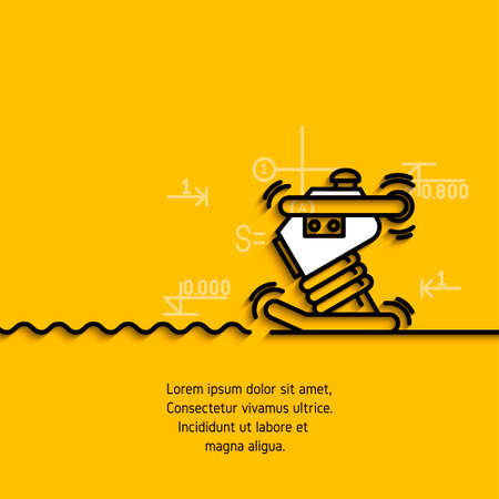 banner with a picture of black flat line symbol construction equipment, rummer for soil compaction on yellow background.
