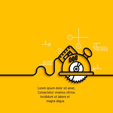 banner met een afbeelding van zwarte vlakke lijn symbool bouwgereedschap cirkelvormige handzaag op gele achtergrond.