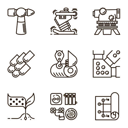 draughts: Black flat line set icon with a picture of a symbol construction engineering build  on white background. Illustration