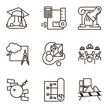 constructional: Black flat line set icon with a picture of a symbol construction engineering build  on white background. Illustration