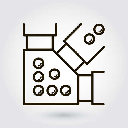 metal construction: Black flat line icon with a picture of a symbol  steel structure, metal construction  on white background.