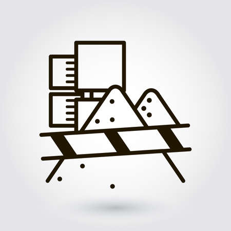 grit: Black flat line icon with a picture of a symbol building yard beginning of work on white background.