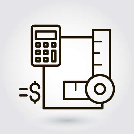 Black flat line icon with a picture of a symbol estimate outlay calculation on white background.