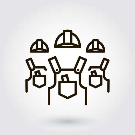 constructional: Black flat line icon with a picture of a symbol a team of builders installers  on white background. Illustration