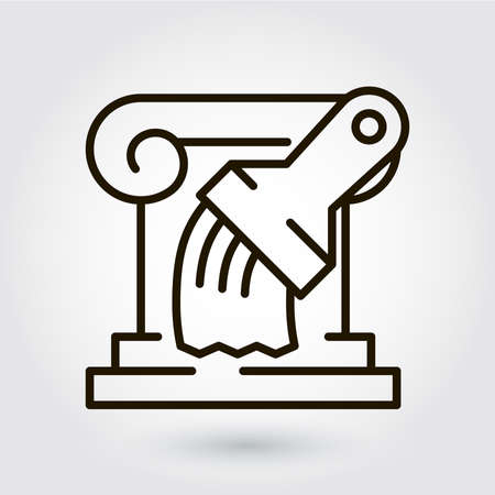 Black flat line icon with a picture of a symbol restoration repair reconstruction on white background.