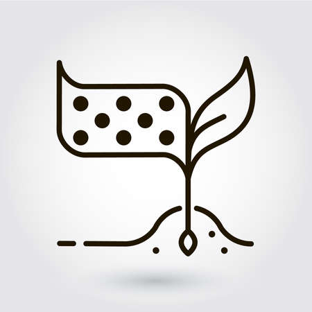 bionomics: Black flat line icon with a picture of a symbol eco-building materials on white background.
