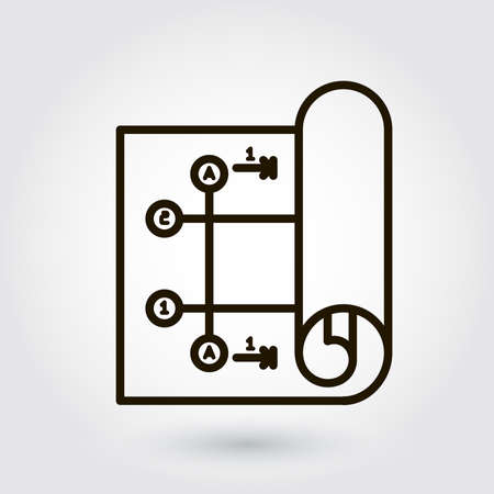 draftsmanship: Black flat line icon with a picture of a symbol designing engineering planning on white background.