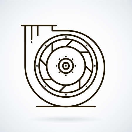 ventilation: Black line icons for ventilation equipment, fan  on white background. Illustration
