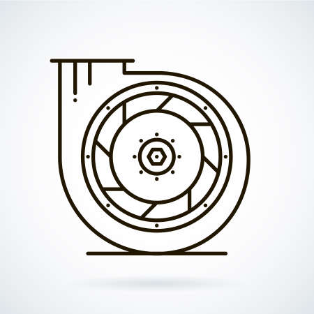 Black line icons for ventilation equipment, fan  on white background. Illustration