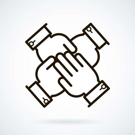 consensus: Black flat line icon business peoples hands on top of each other on white background.
