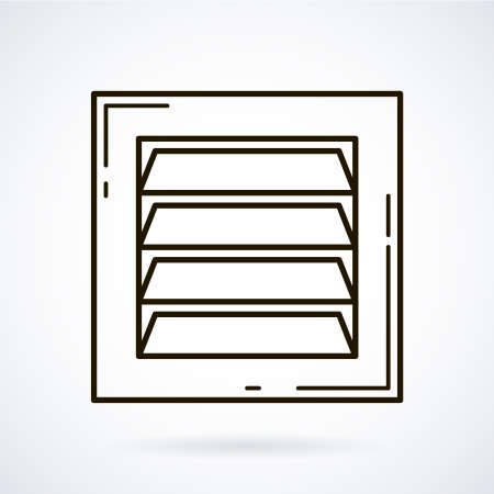 air hole: Black line icons for ventilation equipment, grill  on white background. Illustration