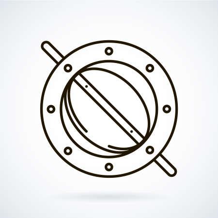 throttle: Black line icons for ventilation equipment, throttle  on white background.