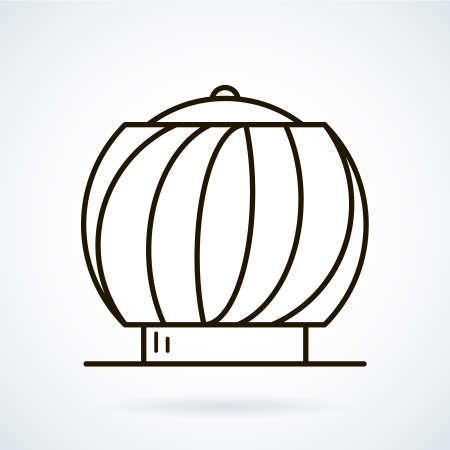 ventilation: Black line icons for ventilation equipment, deflector  on white background. Illustration