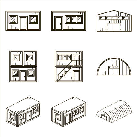 barrack: Set of black line icons for modular buildings on white background.
