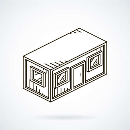 shanty: Black isometric line icon office container on white background.