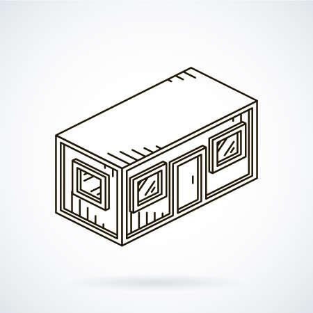 Black isometrische lijn pictogram office container op een witte achtergrond.