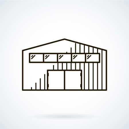 hangar: Black flat line icon hangar on white background. Illustration