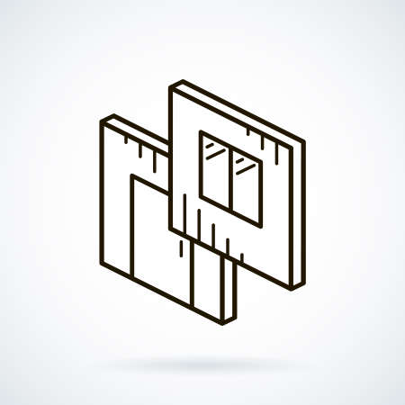 prefabricated: Black isometric line icon modular building on white background.