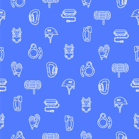 mountaineering: White flat line seamless pattern with a picture of Equipment for industrial mountaineering on blue background. Illustration