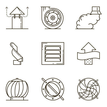 Black flat line icon set with a picture of ventilation equipment on white background.