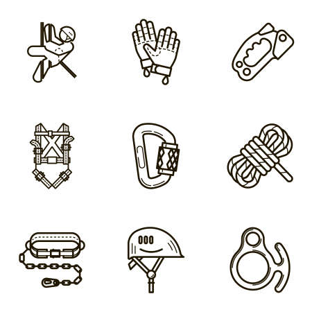 mountaineering: Black flat line icon set with a picture of Equipment for industrial mountaineering on white background. Illustration