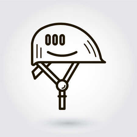 hard hat icon: Black flat line icon with a picture of hard hat on white background.