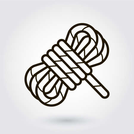 hank: Black flat line icon with a picture of a hank of rope on white background.