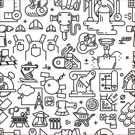 constructional: construction seamless pattern with icons and signs in linear style equipment build tool on white background Illustration
