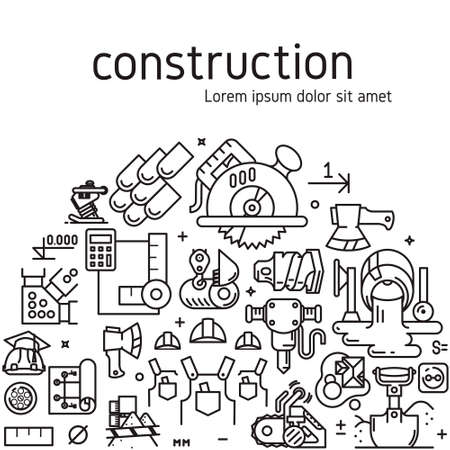 constructional: construction illustration with icons and signs in linear style equipment build tool on white background poster or banner template