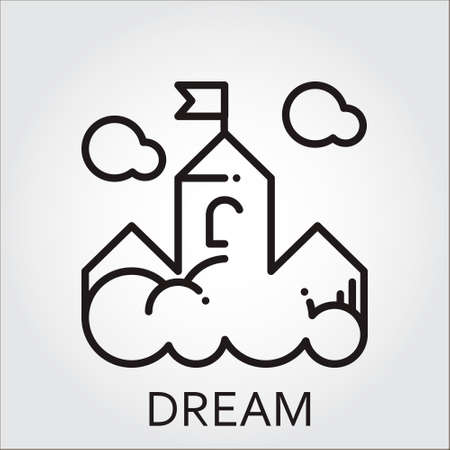 fantasize: Black flat line icon with a picture of dream as cloud-castle on white background.