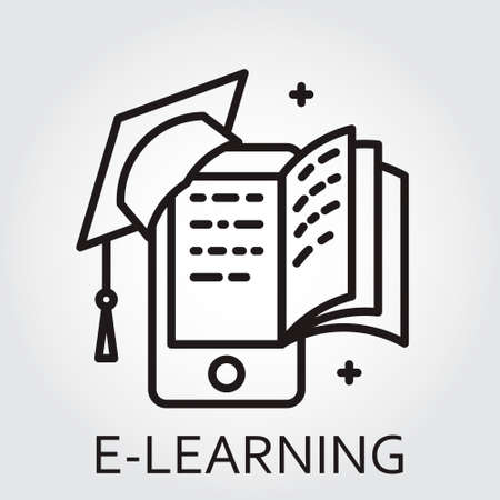 oxford: Black flat line icon with a picture of e-learning as square academic cap book monitor on white background. Illustration