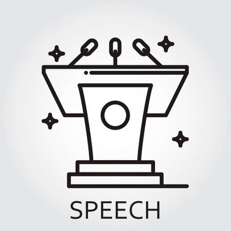 tribune: Black flat Line icon with a picture of speech as tribune on white background. Illustration