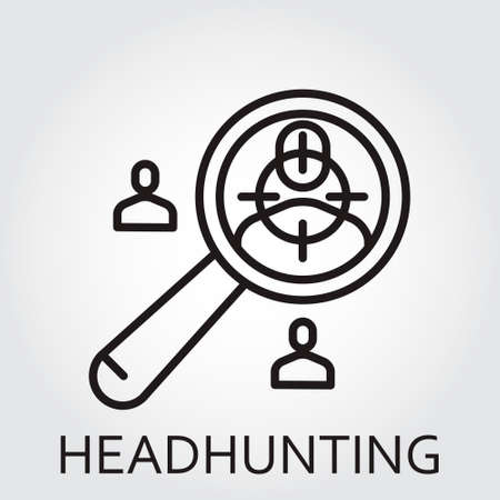 headhunting: Black flat Line icon with a picture of headhunting on white background.