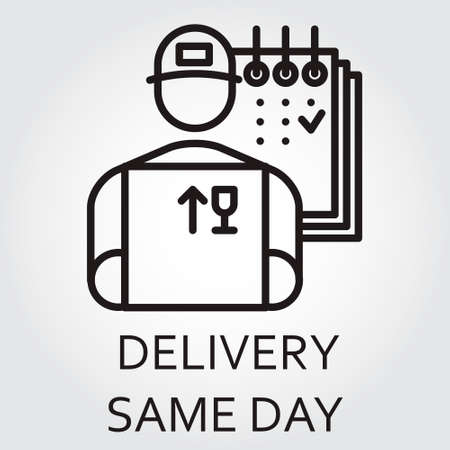 Black flat Line icon with a picture of delivery same day delivery